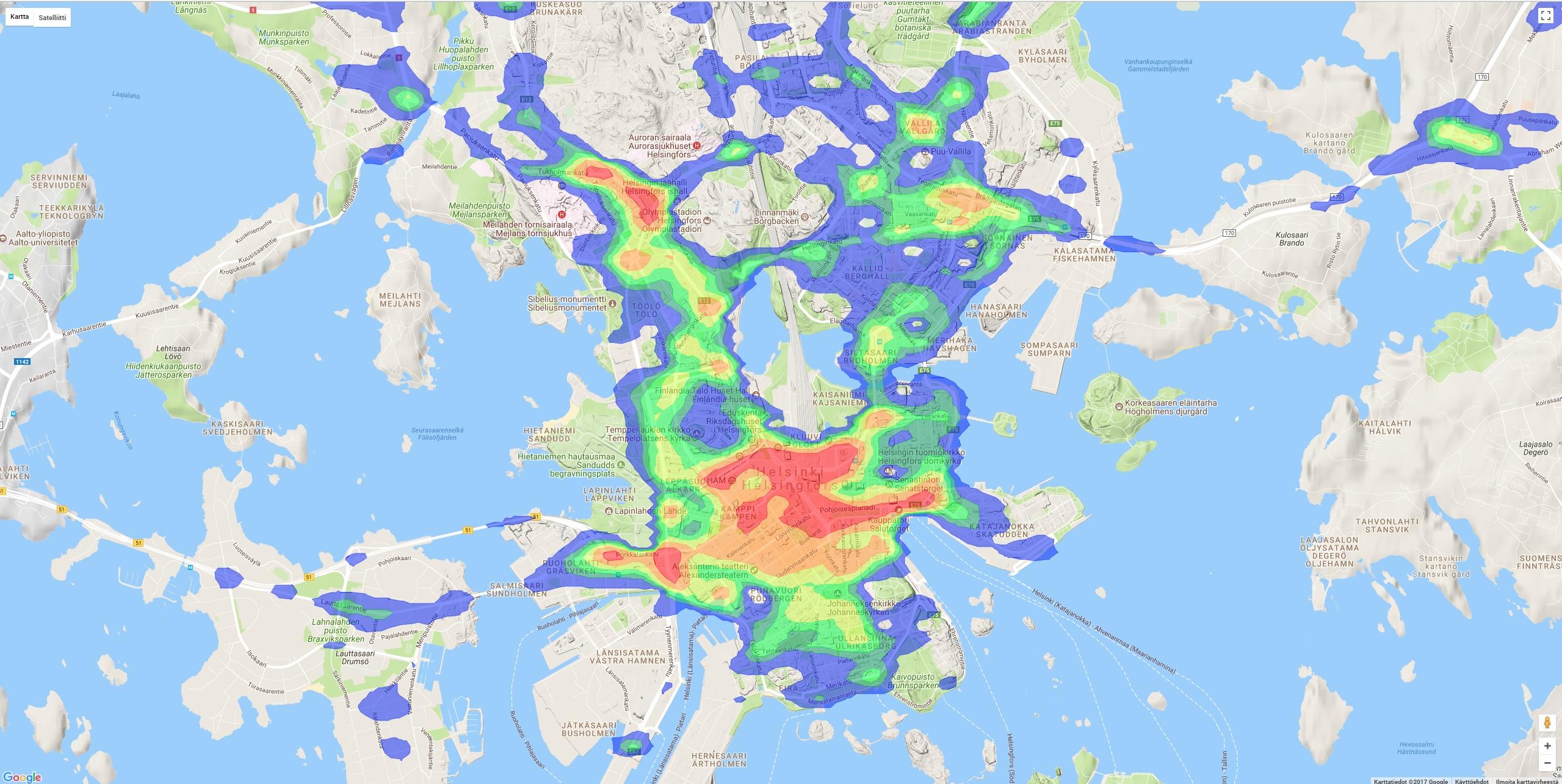 liikenneonnettomuuksien-tiheys-lampokarttana