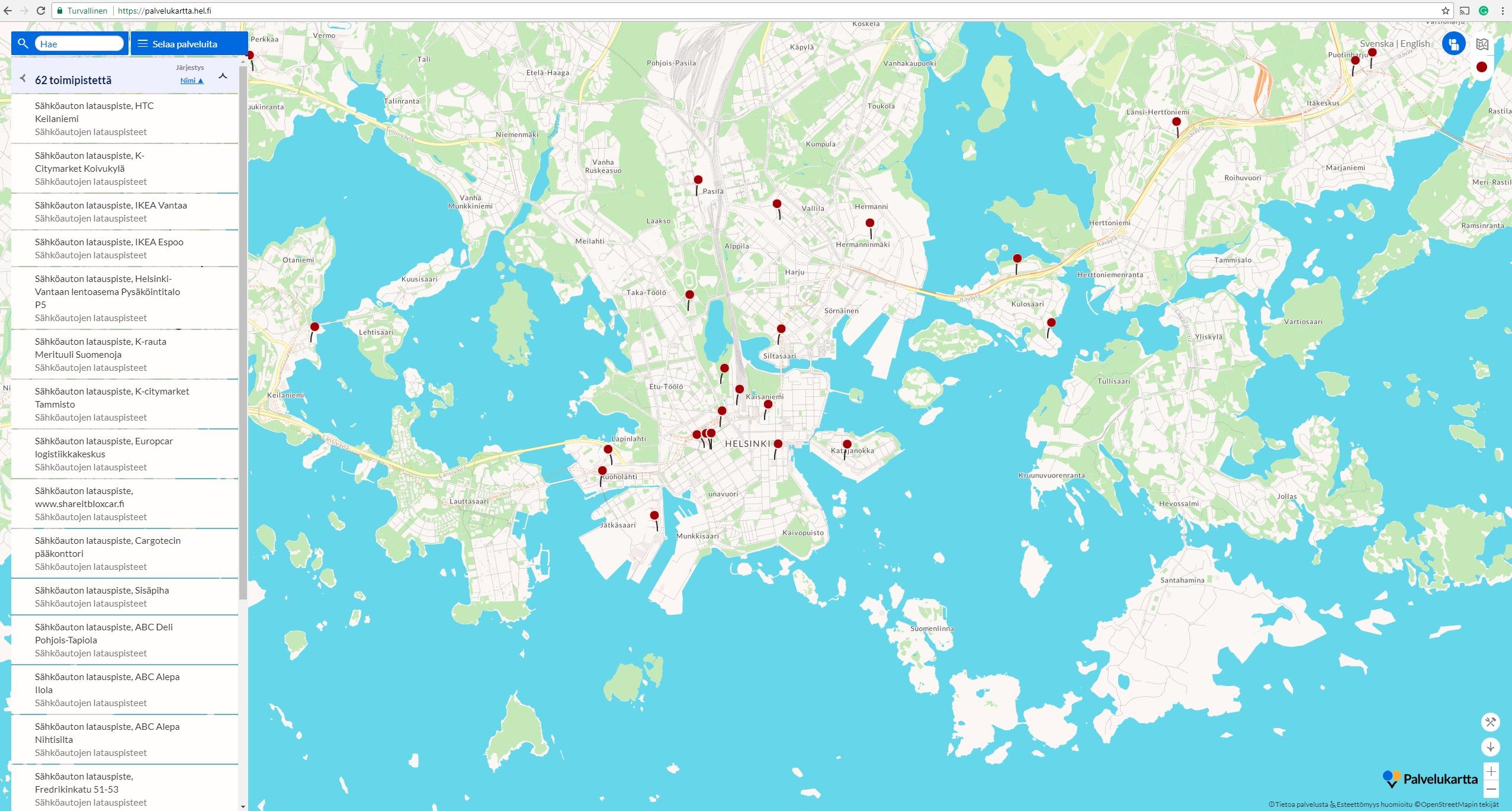 Paakaupunkiseudun Palvelukartta Sovellukset Helsinki Region