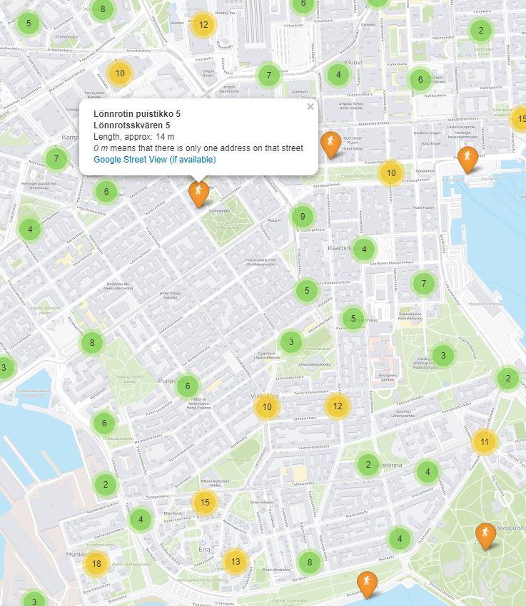 helsingin-katujen-pituudet-kartalla