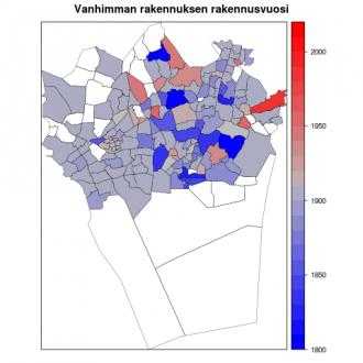 Asuinalueiden ikä -visualisointi.