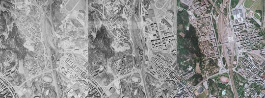 Kolme ilmakuvaa vuosilta 1964, 1976 ja 1988 rinnakkain. Kuvat näyttävät näyttävät Pasilan aseman alueen muutokset.