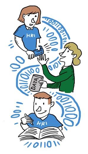 HRI:n väkeä datakatalogin ja -avaajien kanssa sekä henkilö datapurkin kanssa.