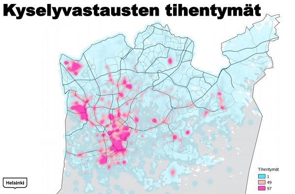 Kartta kyselyjen vastauksien tihentymistä. Vastaukset keskittyvät Helsingin ydinkeskustaan.