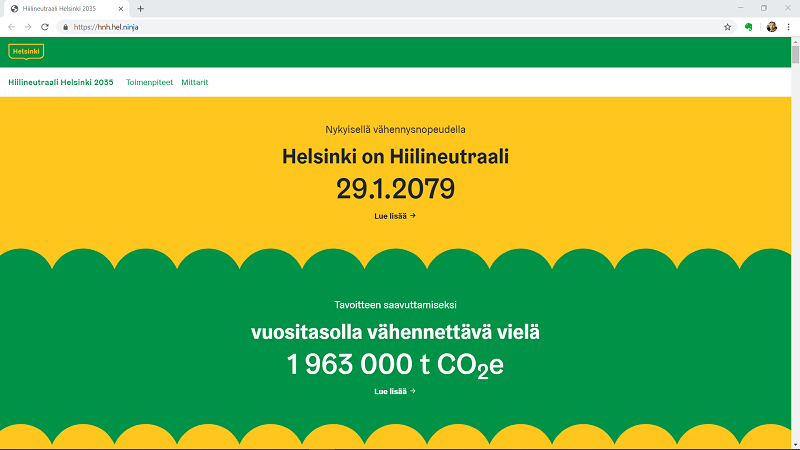 Demo version of Carbon neutral Helsinki 2035 counter
