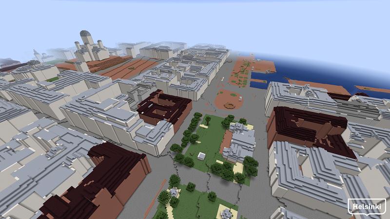 Näkymä Esplanadilta kaupungintalolle ja merelle päin Minecraft-Helsinki3D+-mallissa.