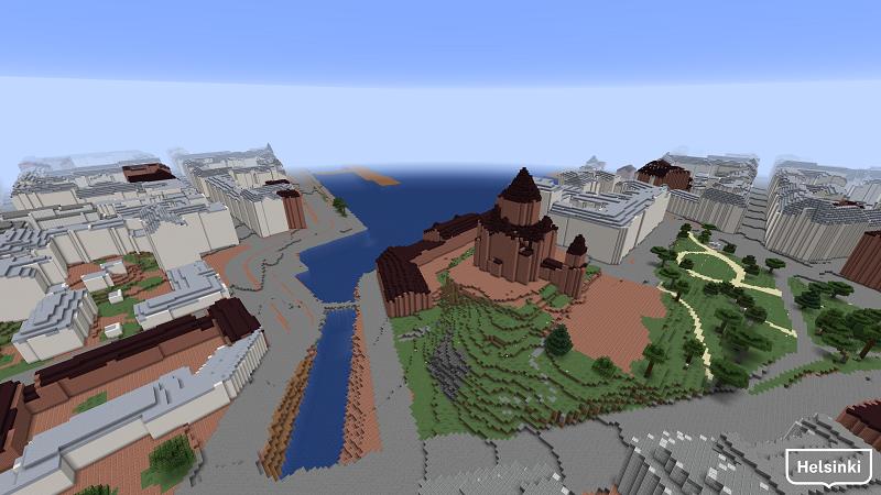 Uspenskin katedraali lähiympäristöineen Minecraft-Helsinki3D+-mallissa.