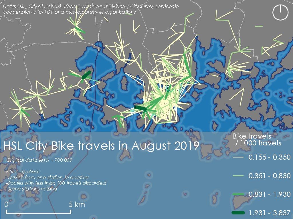 Faris Alsuhailin tekemä visualisointi kaupunkipyörillä ajetuista matkoista vuonna 2019. Eniten matkoja on Helsingin keskustan alueella ja Espoon Otaniemessä.