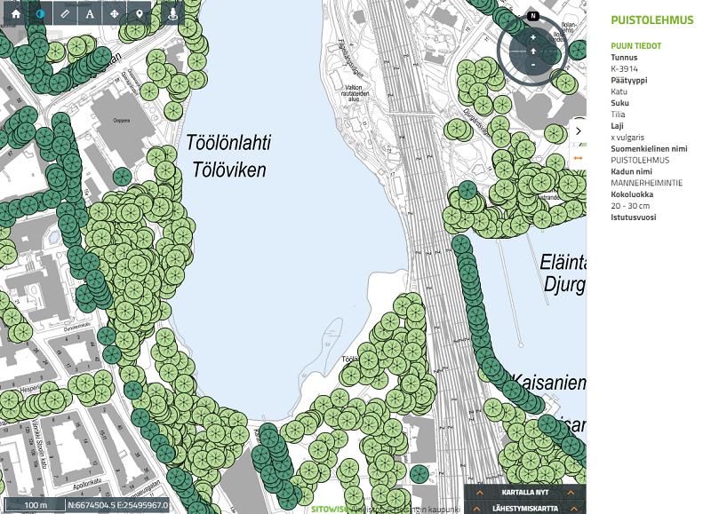 Kuvakaappaus Helsingin Puurekisteri-aineistosta karttapalvelussa. Kuvassa näkyy katu- ja puistopuita Töölönlahden ympäristössä.