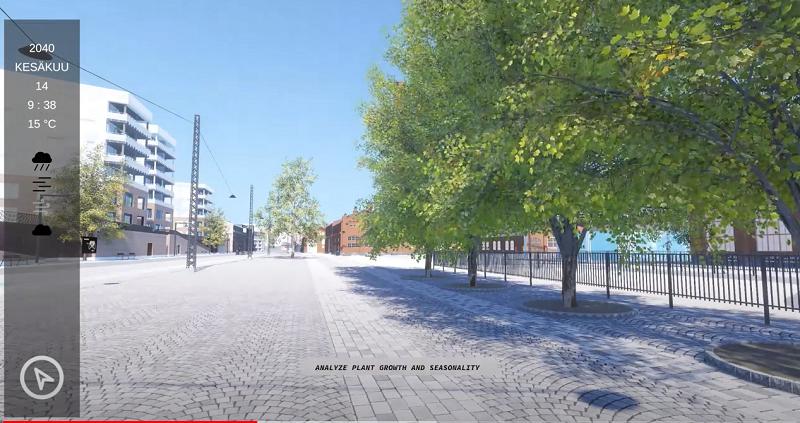 Kuvakaappaus Teollisuuskatu-Aleksis Kiven katu -välisen aukion 3D-mallintamisesta. Kuvassa on tietokonesimuloitu puukuja.