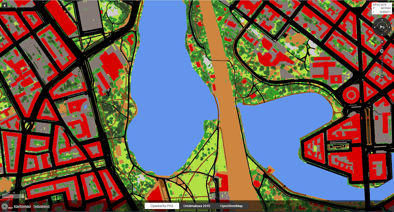 Kuvakaappaus seudullisesta maanpeiteaineistosta HSY:n karttapalvelusta. Kuvassa näkyy maanpeiteaineistoa Töölönlahden ympäristössä.