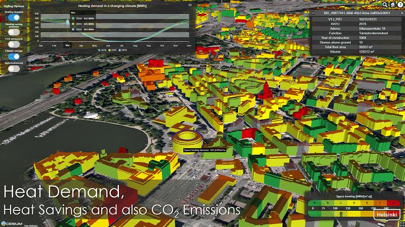 Kuva on kuvakaappaus Energia- ja ilmastoatlas -sovelluksesta, ja siinä esiintyy näkymä kolmiulotteisesta kaupungista niin, että kaupunki on visualisoitu ennakoidun lämmitysenergian tarpeen mukaan. Eri rakennukset esiintyvät eri värisinä riippuen siitä, arvioidaanko niillä olevan pieni vai suuri lämmitysenergian tarve kyseisenä ajankohtana.
