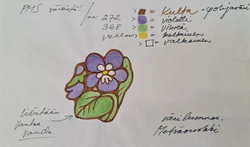 Valokuva piirustuksesta, jossa on piirretty ja väritetty metsäorvokki sekä kuvattu värien sävyt. Piirustus on luonnos Vantaan kaupungin vanhasta logosta.