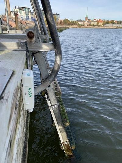 Valokuva uimaveden lämpötilaa mittaavan laitteen veden yläpuolella olevasta osasta, pienestä harmaasta laatikosta joka on kiinni laiturissa.