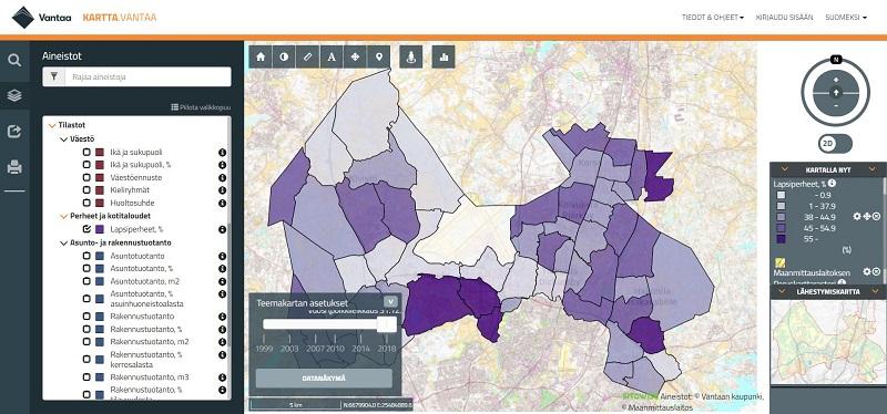 Kuvakaappaus Vantaan kaupungin karttapalvelusta. Karttanäkymään on tuotu tilasto asuinalueittain Vantaan lapsiperheiden määristä. Prosentuaalisesti eniten lapsiperheitä on Ojangossa, Nikinmäessä, Ylästössä, Pakkalassa ja Tammistossa.